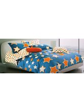 Welhouse India Star Print Cotton King Bedsheet with two pillow covers (AZR008), multicolor