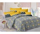 Welhouse Cotton Floral Double Bedsheet With 2 Contrast Pillow Covers(Tc-129), grey