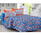 Welhouse & Floral Design 100% Cotton Double Bedsheet With 2 Contrast Pillow Cover-Best Tc-175, blue