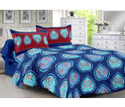 Welhouse & Floral Design Super Soft Cotton Double Bedsheet With 2 Contrast Pillow Cover-Best Tc-175, blue