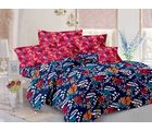 Welhouse Cotton Floral Double Bedsheet With 2 Contrast Pillow Covers(Tc-129), blue