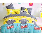 Welhouse India Cartoon Print Cotton King Bedsheet with two pillow covers (AZR001), multicolor