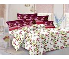 Welhouse Cotton Floral Double Bedsheet With 2 Contrast Pillow Covers(Tc-129), white