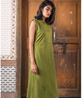 TRC Olive Frayed Dress, green, s