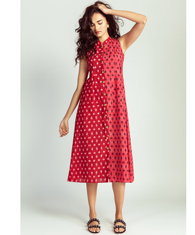 Jodi Lattice Safari Dress, red, l
