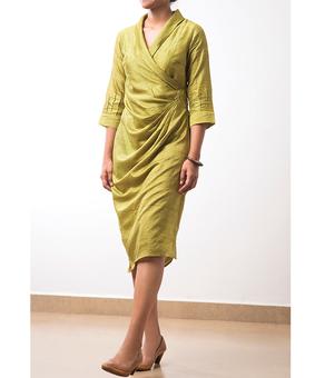 BT Mallika Wrap Dress, green, s