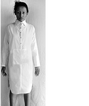 DOM Slit Shirt Dress, white, xl