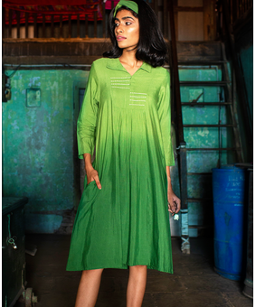 TRC Shaded Shirt Dress, green, s