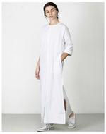 Three Side Slit Dress, white, s