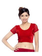 Carrel Imported Velvet Fabric For Women Blouse (AGSPL_ 3084), black, l