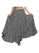Carrel Imported Polly Cotton Fabric Printed Long Skirt For Women (AGSPL-3486), navy blue