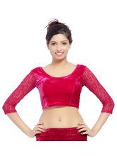 Carrel Imported Velvet Fabric For Women Blouse (AGSPL_ 3082), white, l