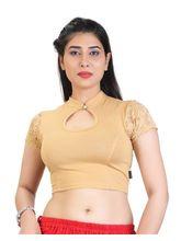 Carrel Cotton Women Fancy Blouse (AGSPL_ 3231), l, beige