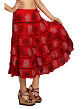 Carrel Imported Cotton Fabric Women Printed Midi Length Skirt (AGSPL-3476), free, red