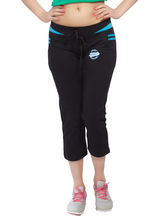 Comix Casual Cotton And Hosiery Women Capri, 3xl, black and blue