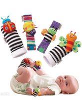 Kuhu Creations® Baby Rattle Toys Garden Bug Wrist & Foot Socks Bee Ladybug., multicolor