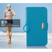 KLD Unique Solid Color Leather Flip Diary Cover Case For HTC ONE M7 - Blue
