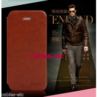 KLD Enland Italian Leather Flip Diary Cover Case For Apple iPhone 5 - Brown