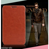 KLD Italian Leather Flip Diary Cover Case For Samsung Galaxy Note N7000 - Brown