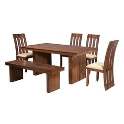 Lucerne Dining Set With Bench,  walnut