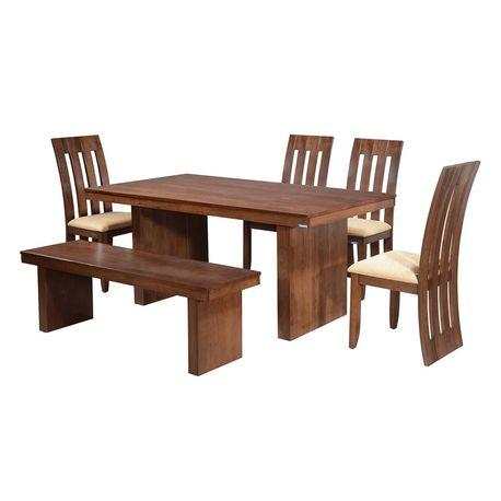 Lucerne Dining Set With Bench,  walnut