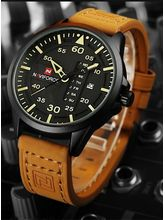 Naviforcei Army Military Watches Mens Quartz Date Clock Man Leather Strap Sports Wrist Watch