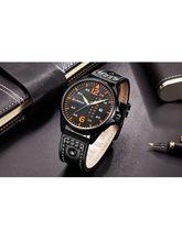 Curreni Mens Military Sport Wristwatch Blue Leather Strap Watches Date Clock Men Quartz Watch