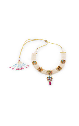 TURQUOISE& PINK KUNDAN CHAND PIECE NECKLACE SET