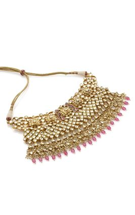 MAROON WHITE JAISALMERI KUNDAN NECKLACE SET