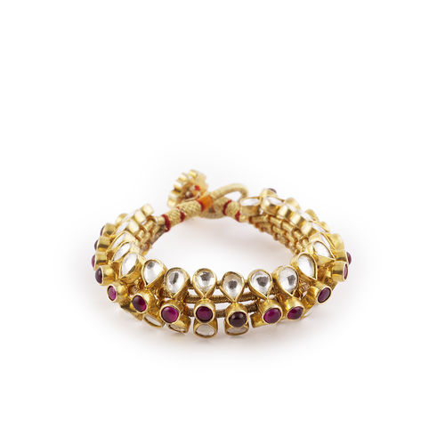 PINK WHITE KUNDAN GOLDEN THREAD JAV BRACELET