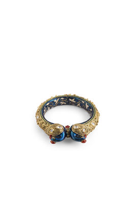 WHITE KUNDAN BLUE PEACOCK FACE GOLDEN CARVING BRACELET