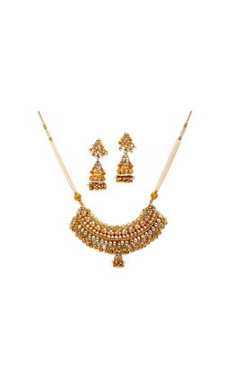 FULL WHITE KUNDAN OVAL SHAPE STONE NECKLACE SET