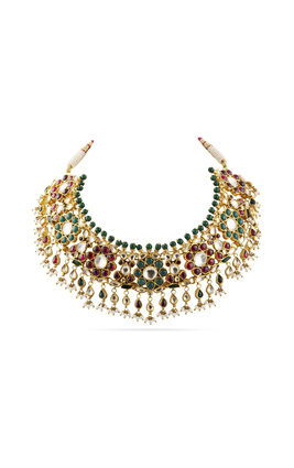 MULTI KUNDAN FLOWER NECKLACE SET