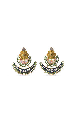 GREEN & WHITE ENAMEL CHAND BALI