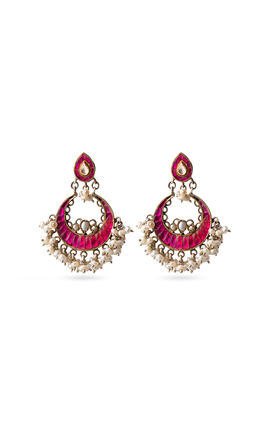 Chand shaped pink earrings