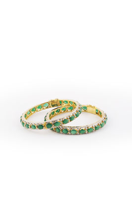 GREEN ONYX LEAF SHAPE STONE CZ DIAMOND BANGLES