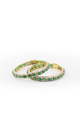 GREEN ONYX LEAF SHAPE STONE CZ DIAMOND BANGLES
