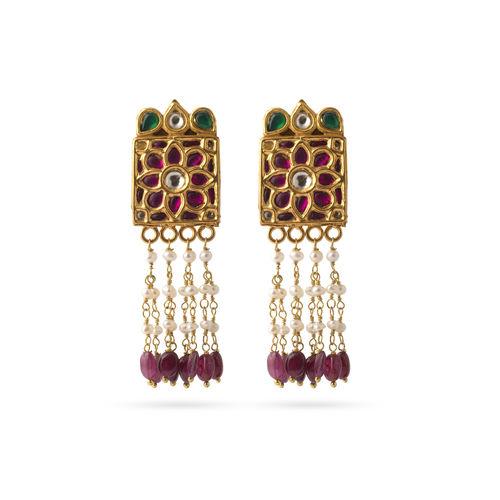 Multi kundan earrings
