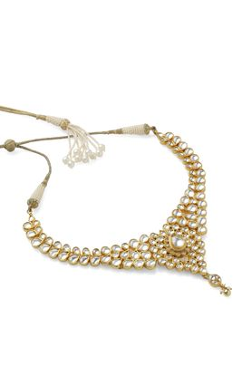 FULL WHITE KUNDAN NECKLACE SET