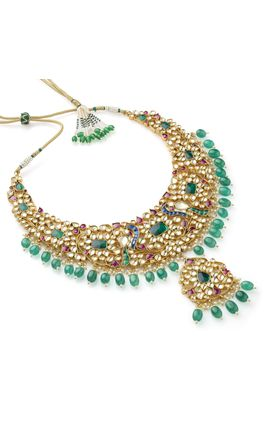 MULTI KUNDAN PEACOCK DESIGN NECKLACE SET