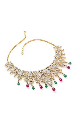CZ DIAMOND NECKLACE SET WITH PINK JAIPURI & GREEN ONYX DROPS
