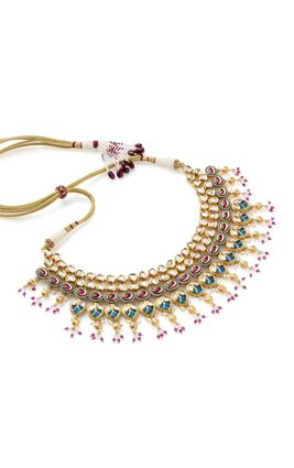 MULTI KUNDAN DC WORK NECKLACE SET