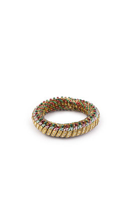 WHITE KUNDAN IN CENTER & SIDE RED GREEN ENAMEL SUTKALA BANGLES