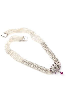 PINK JAIPURI CZ DIAMOND CHINA PEARL NECKLACE SET