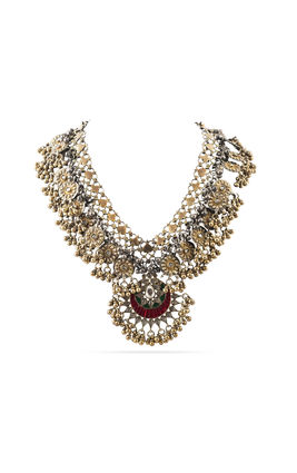MULTI KUNDAN STONE CHAND PENDANT WITH ROUND PIECES AASHNA NECKLACE