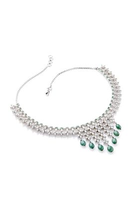 EMERALD STONE CZ DIAMOND CHOKI MARQUISE NECKLACE SET