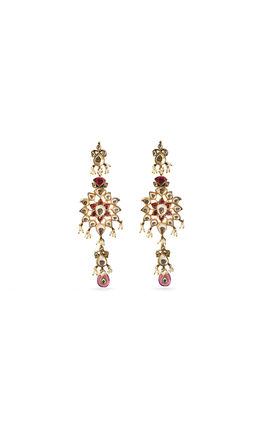 RODOLITE & WHITE KUNDAN EARRINGS