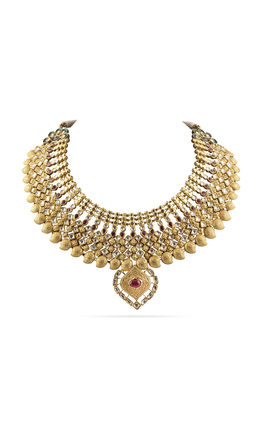 RED GREEN KUNDAN GOLDEN NECKLACE SET