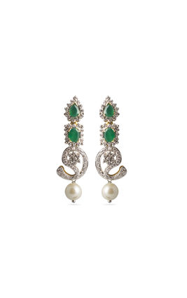 Mango shaped green onyx stone CZ Earrings