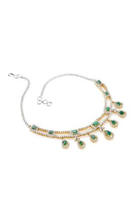 GREEN ONEX STONE 2 LINE CZ DIAMOND NECKLACE SET